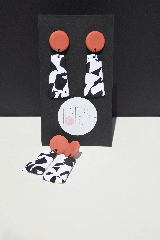 Baked Terrazzo Dangle Earrings / Polymer Clay Earrings