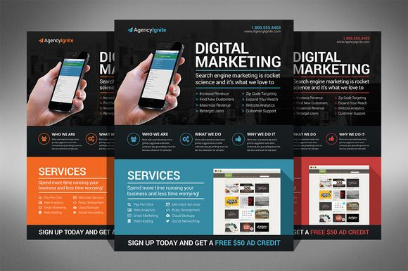 Check out Digital Marketing Flyer PSD by Creativenauts on Creative - free product flyer templates
