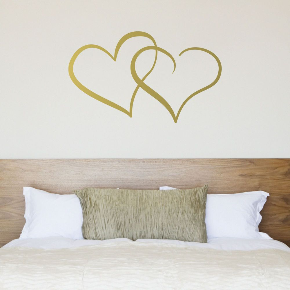 Interlocking hearts wall sticker love heart sticker for couples interlocking hearts wall decal love heart sticker for couples bedroom in home furniture amipublicfo Gallery