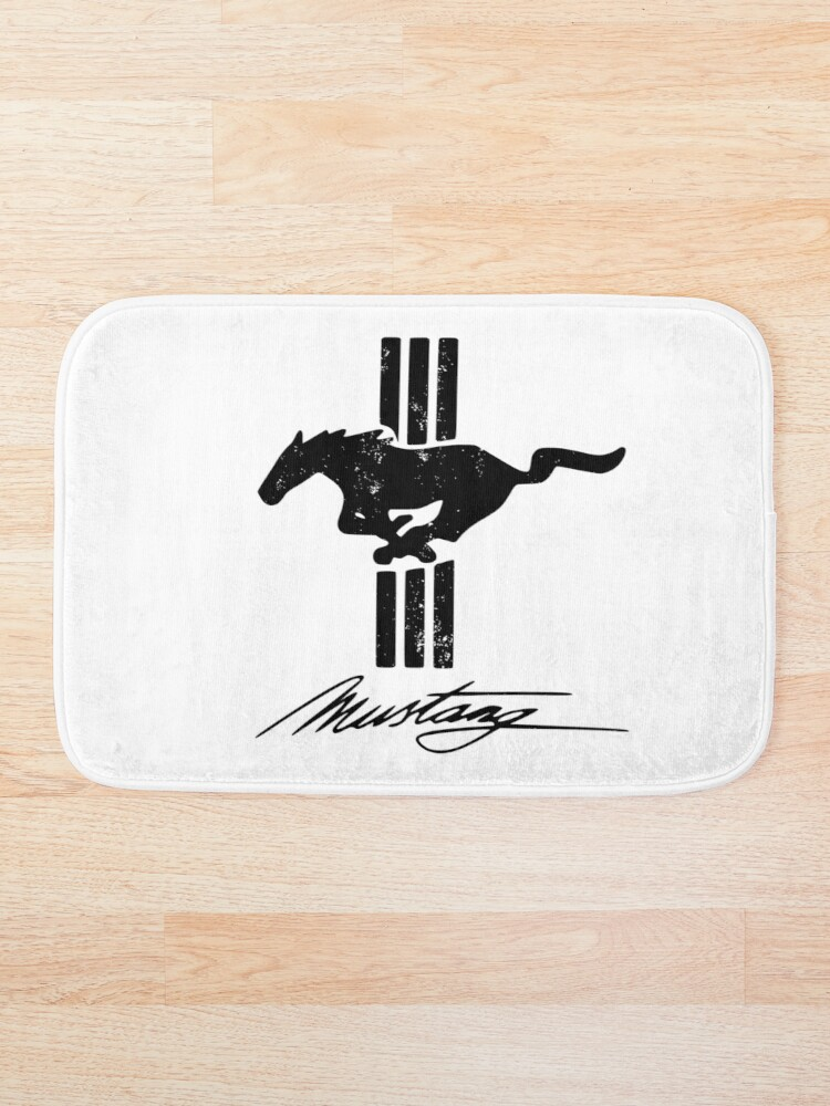 'Ford Mustang Retro Logo – black- distressed' Bath Mat by RS-Customstylez