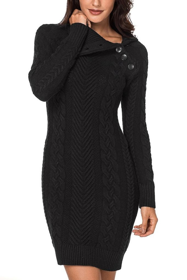 7ef2f19da324 Winter Style // Stay warm and look fabulous this cold season by choosing to  wear this black cable knit split cowl neck sweater dress.