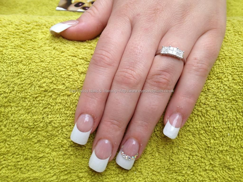 Just Got Engaged Full Set Of Acrylic With White Tips Nail Designs Hair And Nails Gel Nail Extensions