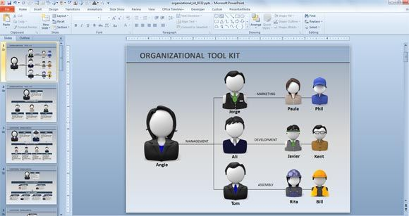Animated Org Chart Powerpoint Templates Corporate Organization