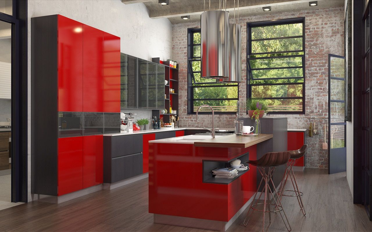 Industrial Element Social Kitchen Dry Kitchen Red Lacquer Black Acrylic Grey Wood Gr Industrial Style Kitchen Industrial Style Kitchen Cabinets Kitchen Styling