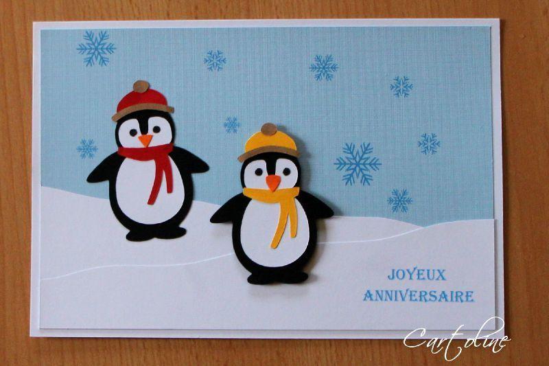Carte pingouins   Des cartes   du scrap   CARTOLINE   Carte enfant