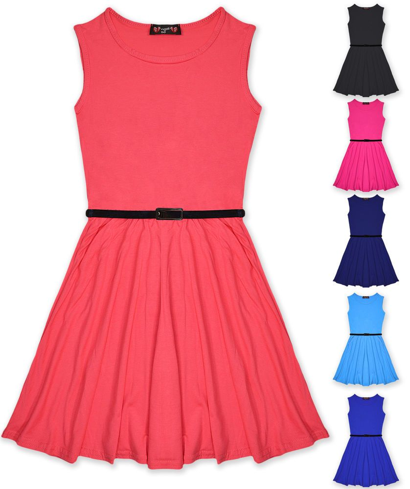 Details about Girls Skater Dress Kids Party Dresses Belted New Age ...