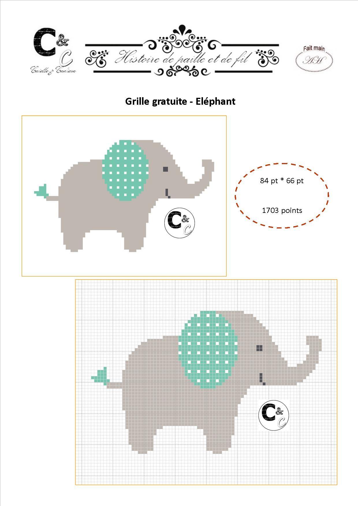 Grille gratuite de point de croix el phant broderie l phant point de croix point de - Photos d elephants gratuites ...