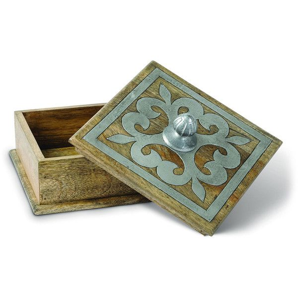 Small Decorative Box G G Collection Wood & Metal Inlay Box €39 ❤ Liked On Polyvore