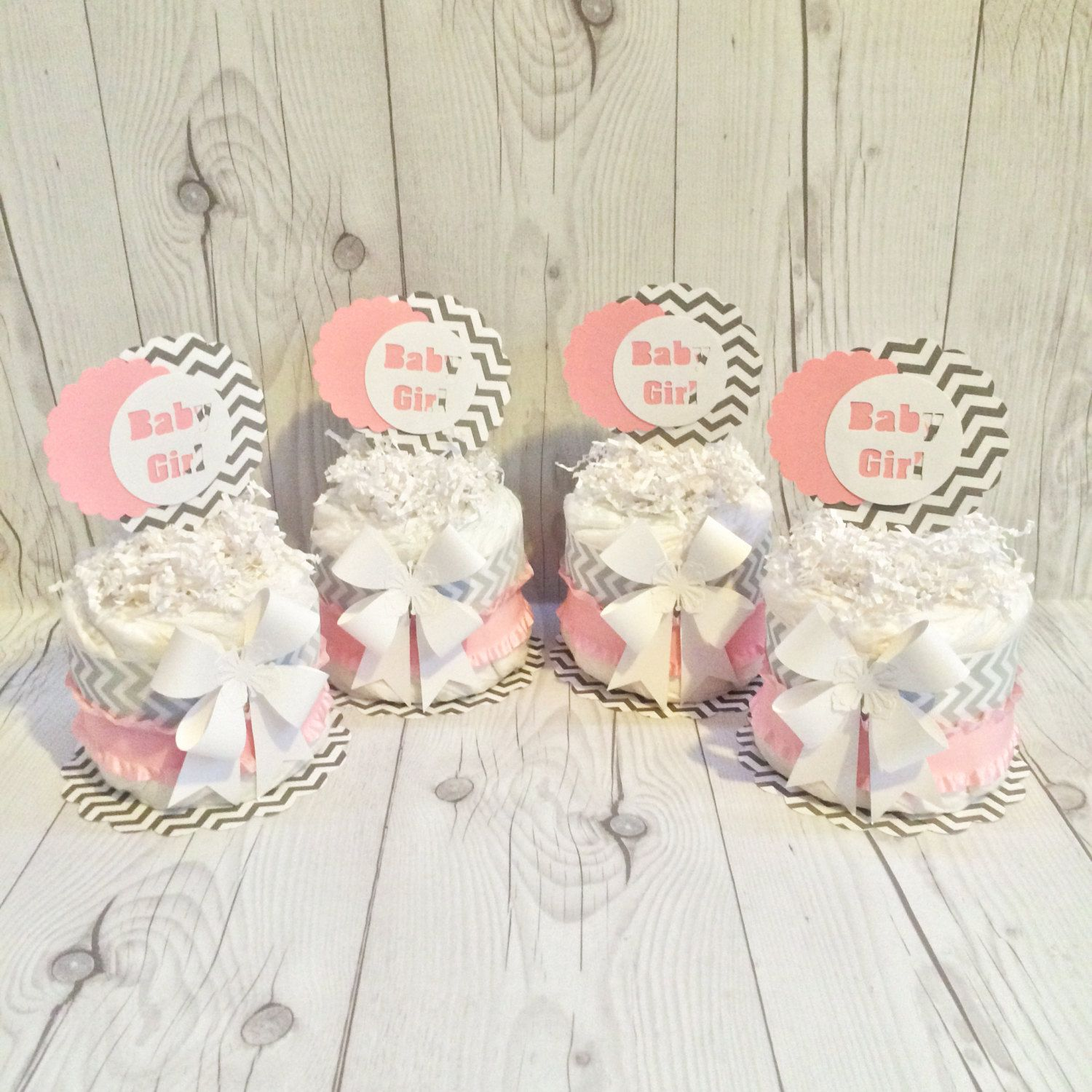 Mini diaper cake centerpiece kit baby pink gray and