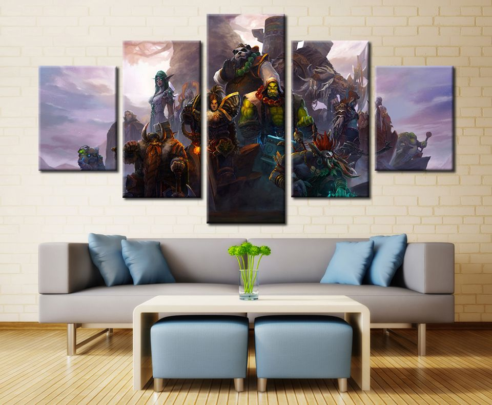 5 Panels Warcraft Framed Poster Print Canvas Art Multi Piece Canvas Wall Decor Canvas Wall Art Set Canvas Wall Art