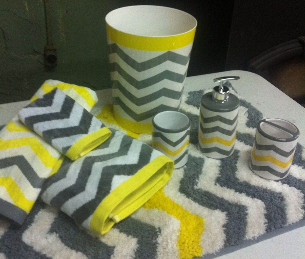 Chevron Neon Yellow Gray White 8 Pc Bathroom Set Bath Towel Rug Trash NEW