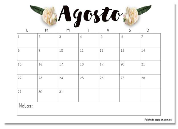 Calendario De Agosto 2019 Decorado.Calendario Imprimible Agosto Descargable Printable