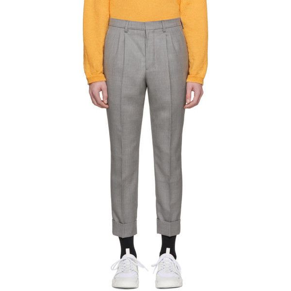 AMI Alexandre Mattiussi Grey Wool Carrot Fit Trousers ($490) ❤ liked on  Polyvore featuring men's fashion, men's clothing, men's pants, men's casual  pants, ...