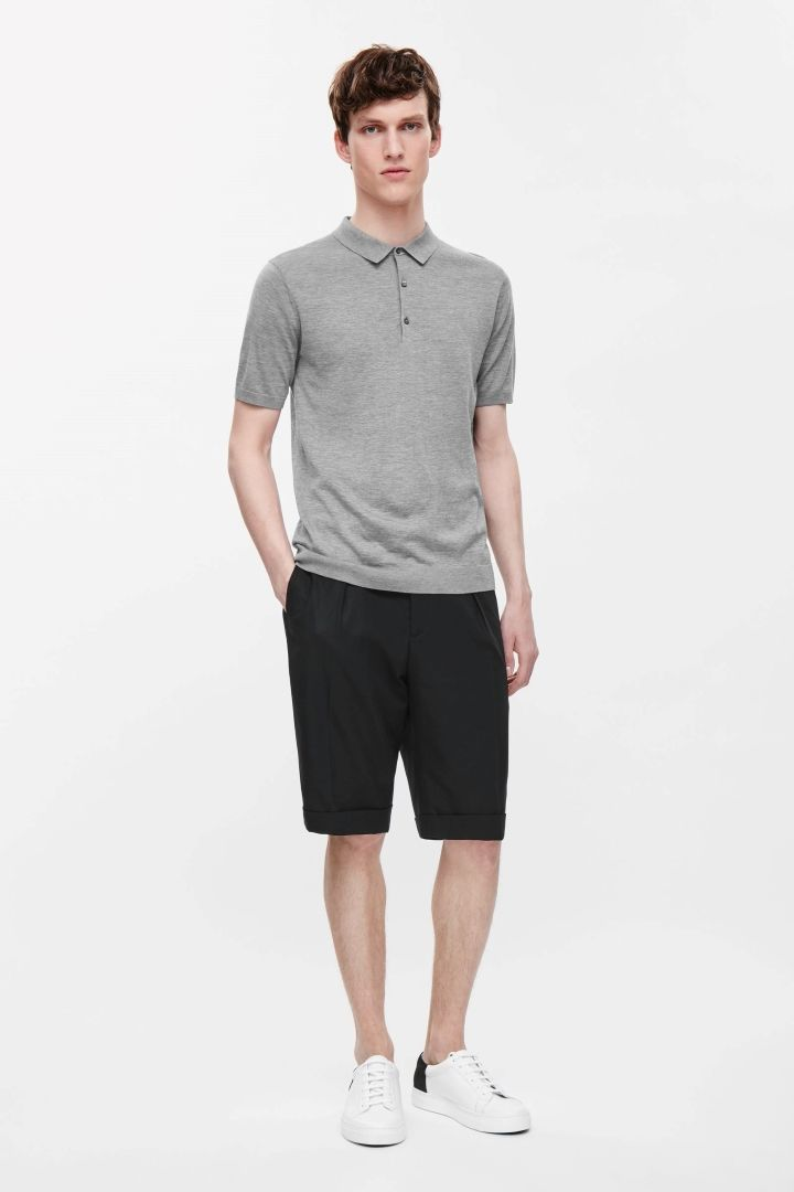 Boys Grey Fine Knit Polo Shirt And Shorts