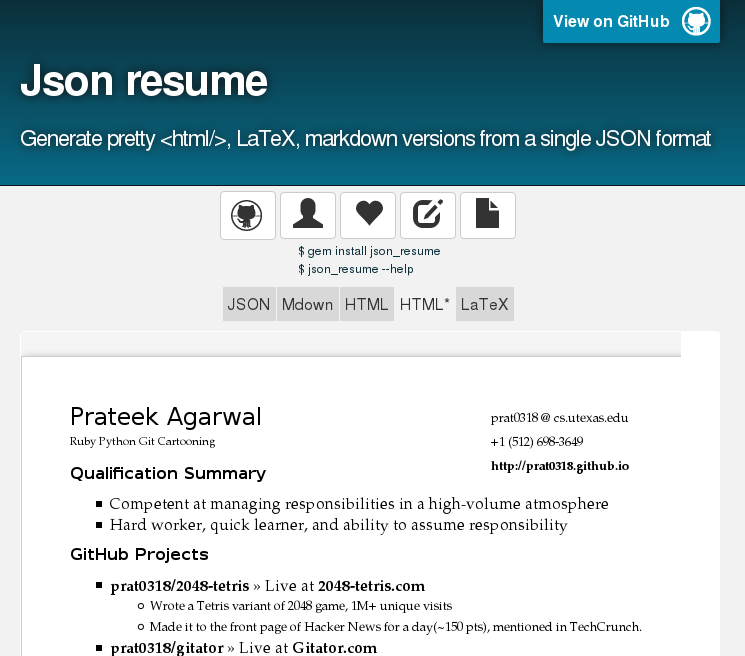 Json resume Generate pretty , LaTeX, markdown versions from