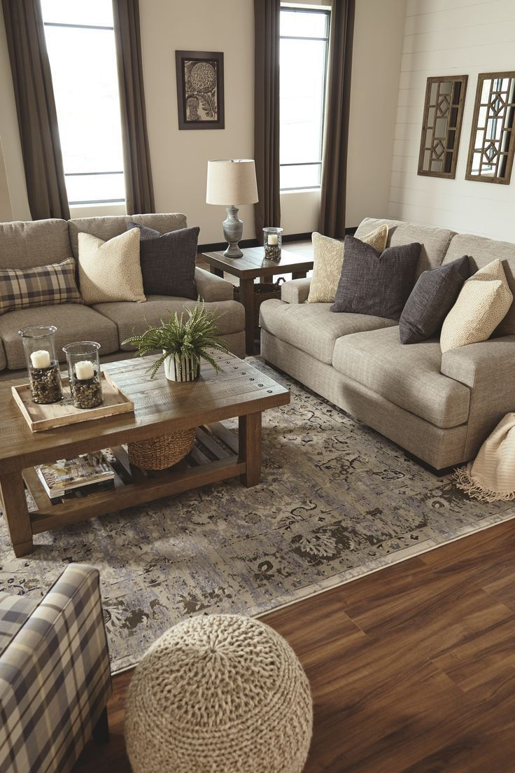 Photo of Cozy white living room decoration. Rustic farmhouse #Living room