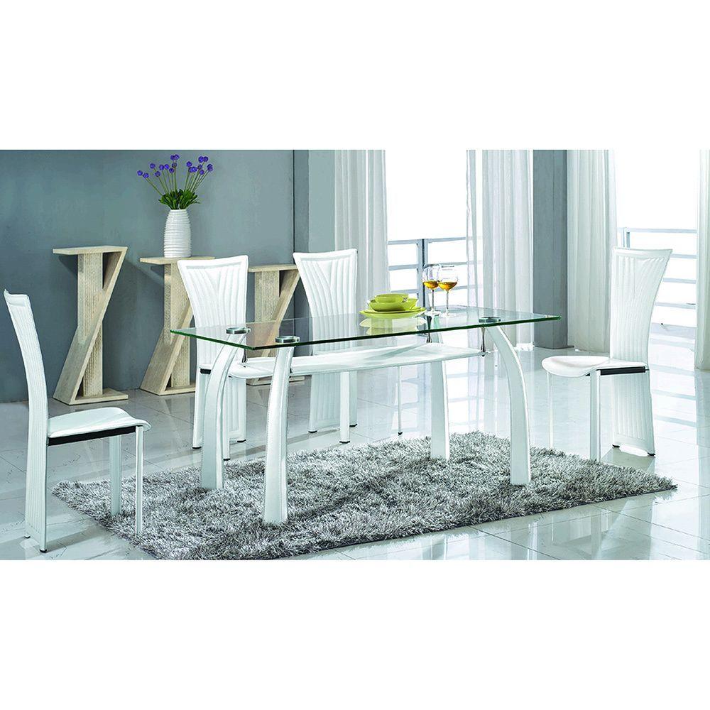 Somette Regan Glass Dining Set with White Chairs (Set of 5) (Regan ...