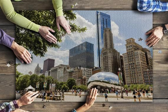 Chicago, Illinois - Wide Angle View of Bean & City 9006303 (20x30 Premium 1000 Piece Jigsaw Puzzle, #wideangle