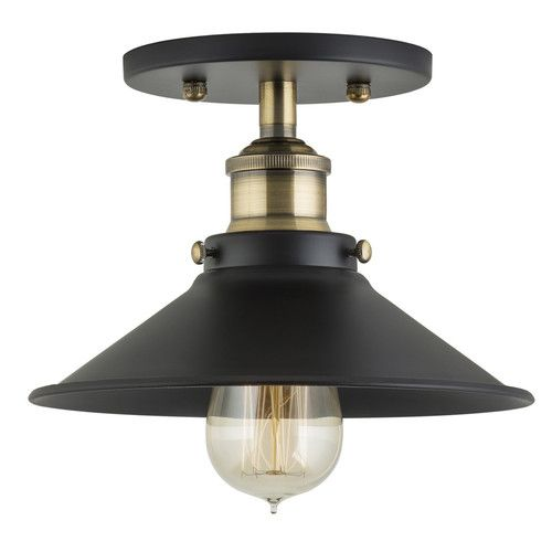 Features Comes With Metal Shade And Universal Mounting Plate 2 Light Fixtures Flush Mount Flush Mount Ceiling Lights Industrial Ceiling Lights