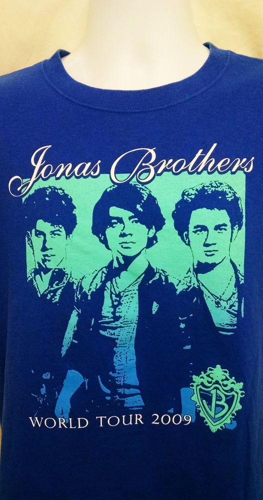 4964632cd Jonas Brothers World Tour 2009 Blue SS Graphic Concert T-Shirt Sz M Nick  Jonas #Anvil #GraphicTee