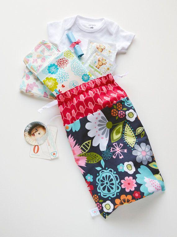 Emergency Diaper Bag Navy Graphic Flower Fuchsia by WhoopsieKit