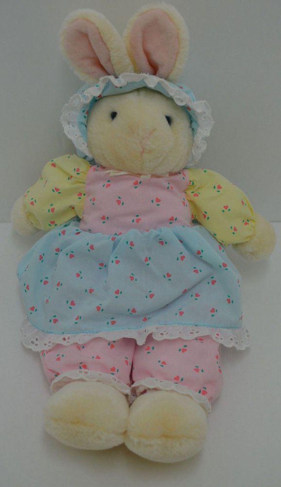 "Eden Bunny Rabbit Plush Floral Heart Dress Pants Bonnet Yellow Stuffed 13"" #Eden"