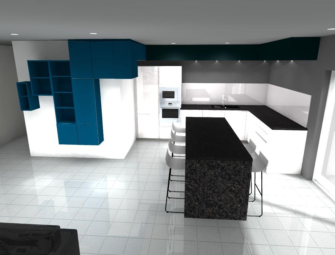 Plan De Travail Granit Loire cuisine laque blanche brillante et bleu pétrole mat avec