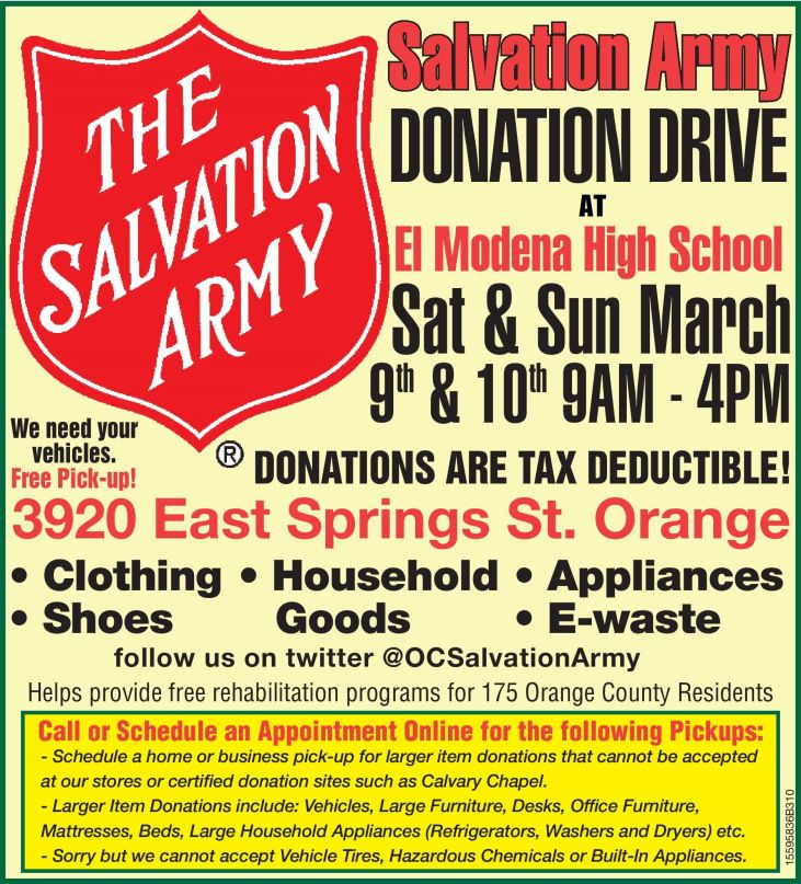 130301 El Modena Flyer March 9th And 10th Salvation Army Donation Drive Donation Drive Salvation Army Army
