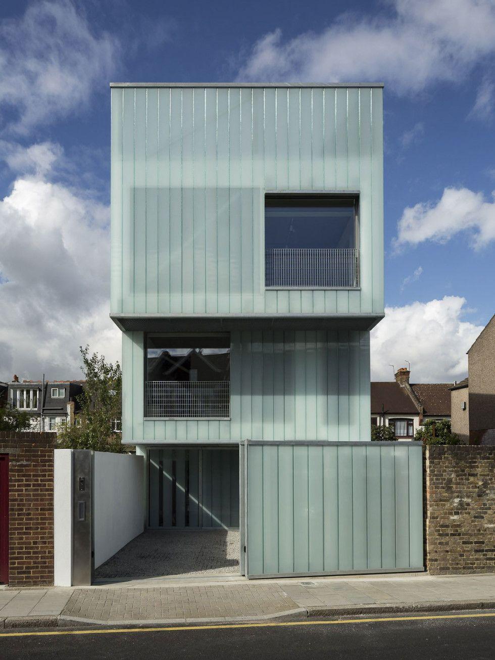 Architecture, Facade Modern Narrow House Design With Glass Cladding Wall  Exterior Plus Sliding Gate Ideas