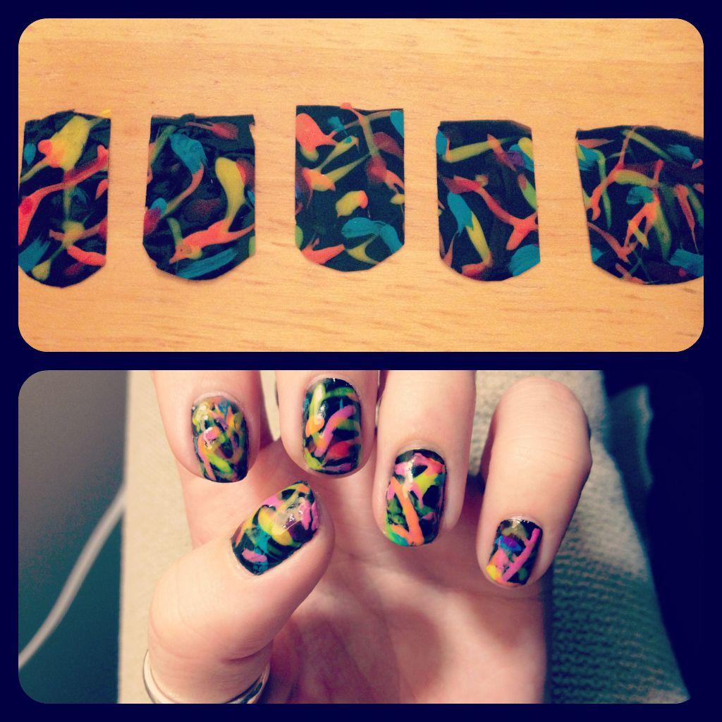 DIY nail stickers 1. paint designs onto a plastic bag 2. let dry ...