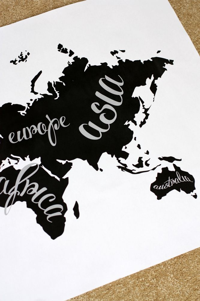 A black and white world map and an office tour crafty diy art a black and white world map and an office tour gumiabroncs Images