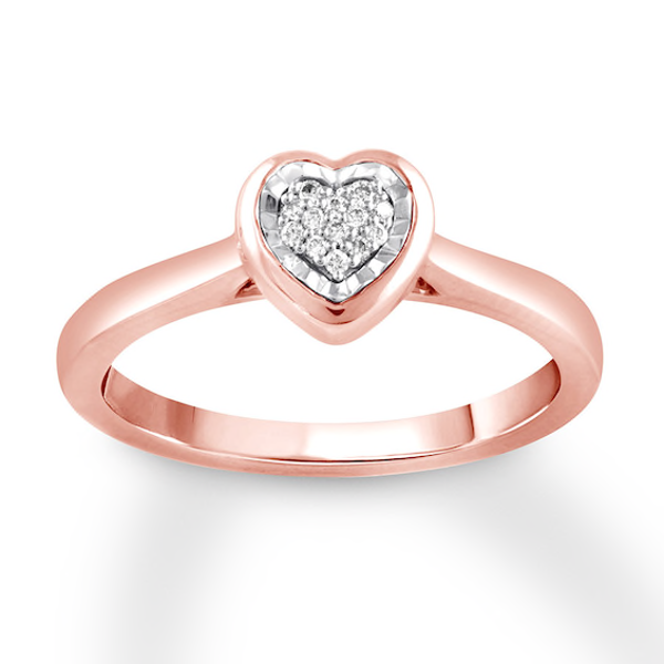 Heart Ring With Diamonds 10k Rose Gold Heart Ring Rose Gold Rings For Her