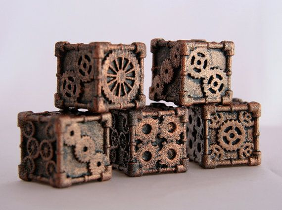 3D printed Steampunk Style dice by MechanicalOddities on etsy