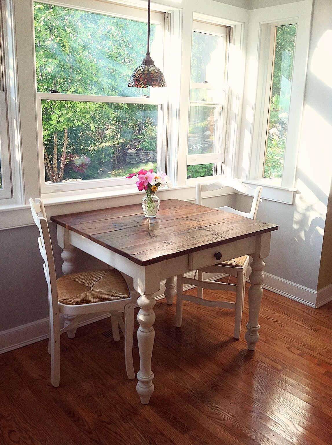 The perfect breakfast nook petite farm table! Made with a