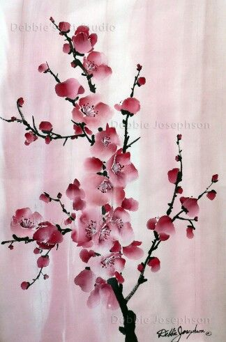 Watercolor Plum Blossoms Cherry Blossom Painting Blossoms Art