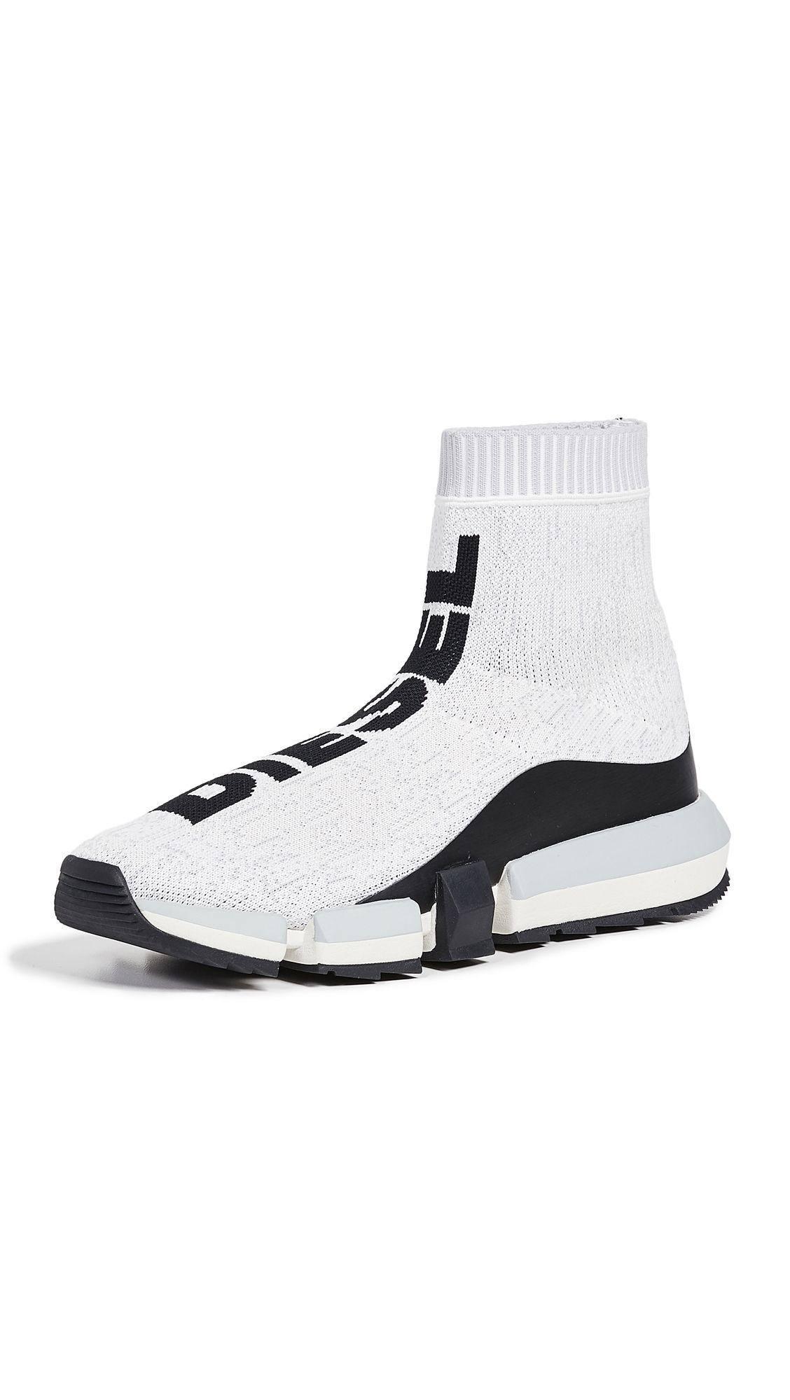 Diesel Padola Mid Sock Sneakers In Star