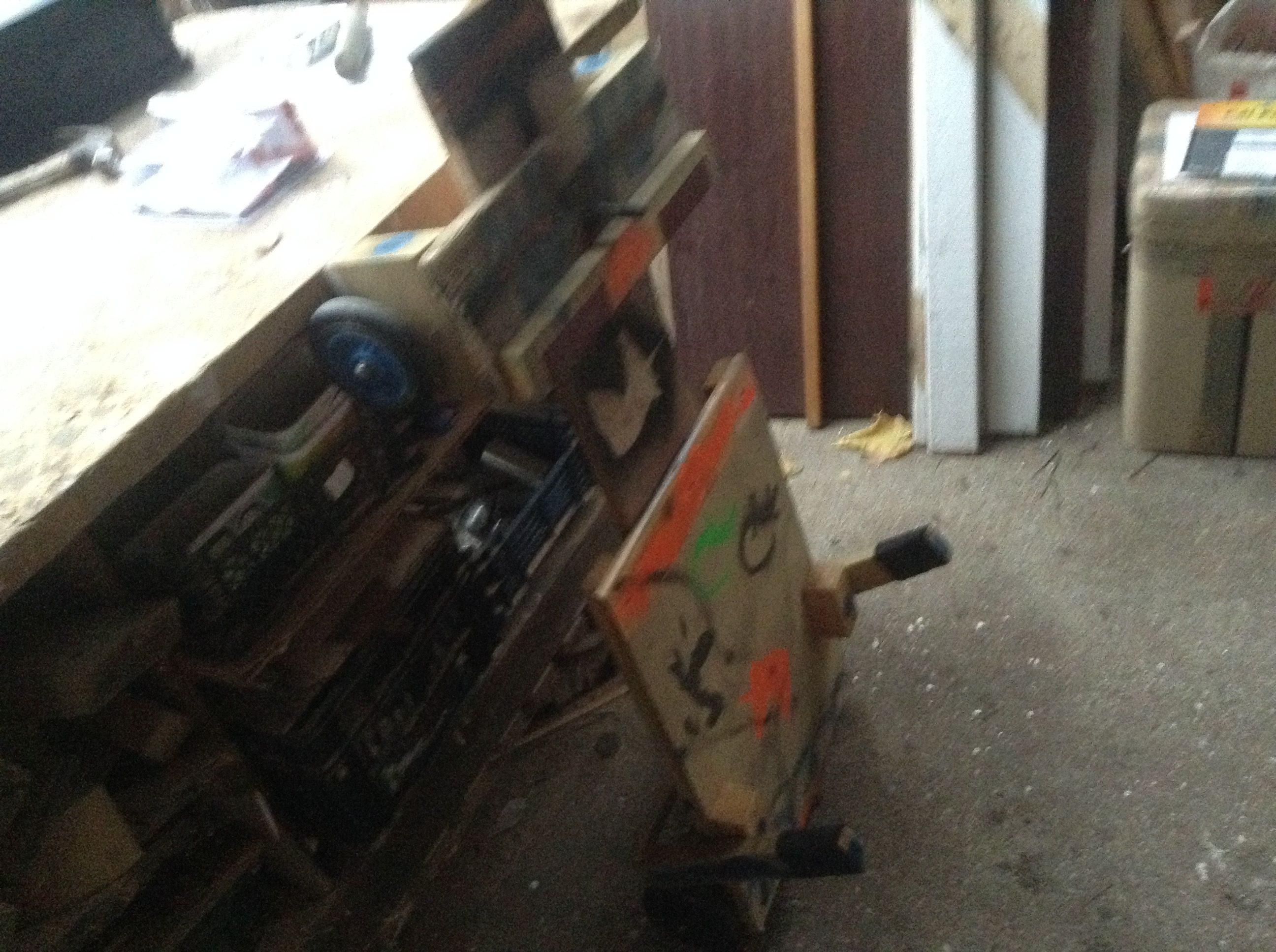 Wood Go Kart Made From Two Broken Skooters And The Main