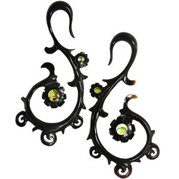 Body Candy 6 Gauge Organic Sabo Wood Art Nouveau Flower Hanger Ear Gauge Plug Set