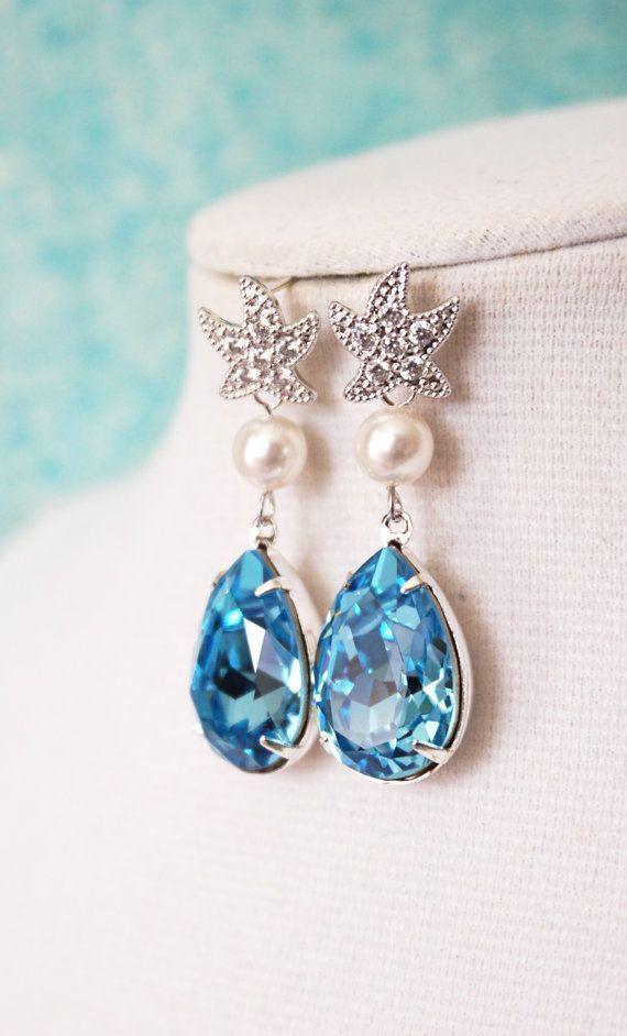 Starfish Cubic Zirconia Aquamarine Swarovski Crystal Teardrop Earrings Gift For Her Bridal Beach Wedding Bridesmaids