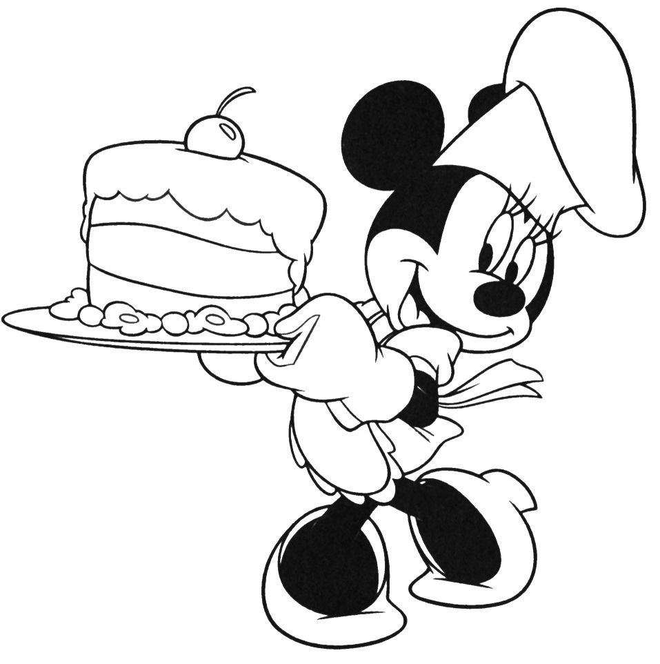 mickey mouse is being brought in a birthday cake coloring pages