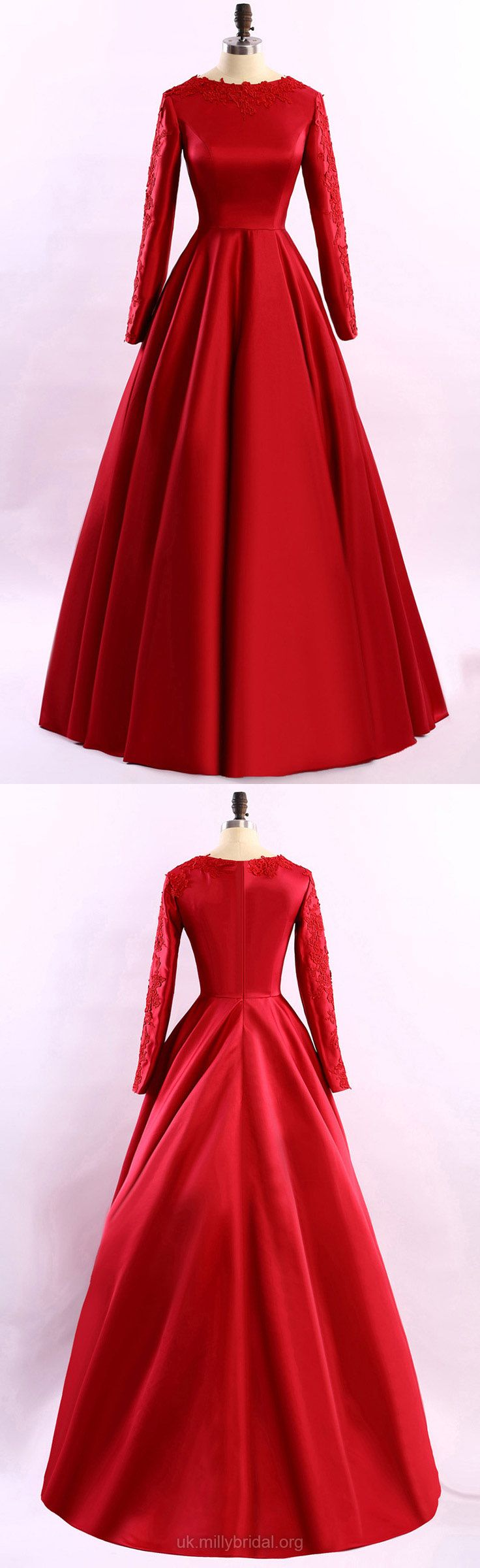 Red formal dresses long prom dresses with sleeves princess