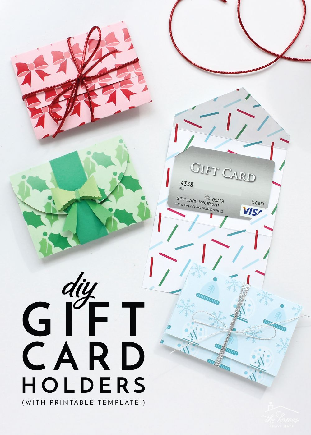 Diy gift card holders with printable template