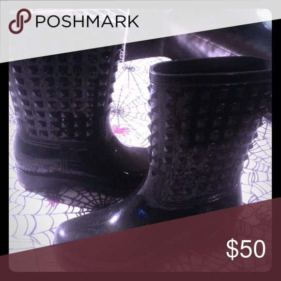Punk gothic studded rain boots Rad. New. Can fit 8.5 Shoes Winter & Rain Boots