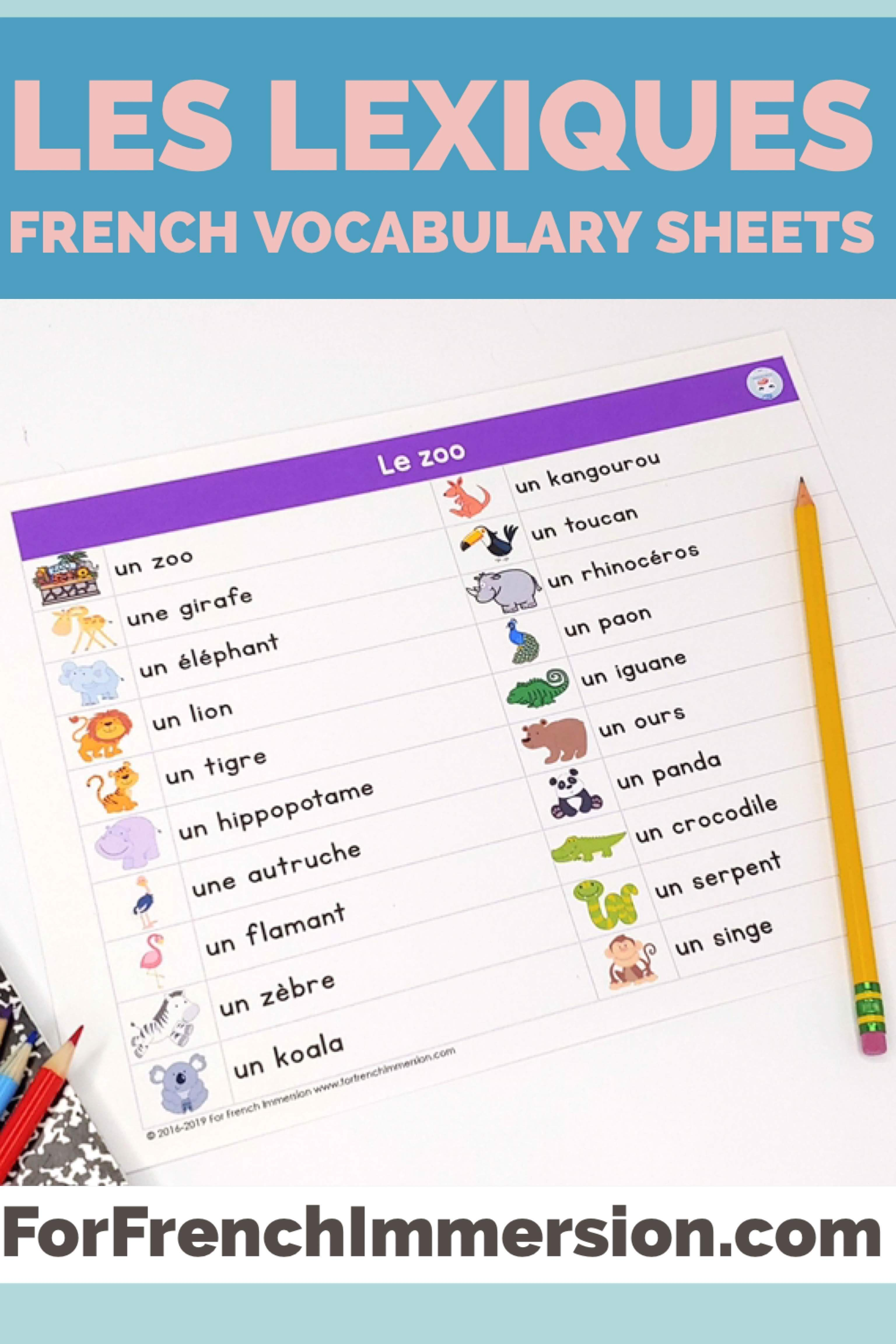 medium resolution of FREE French Vocabulary Sheets: des lexiques - For French Immersion   French  vocabulary