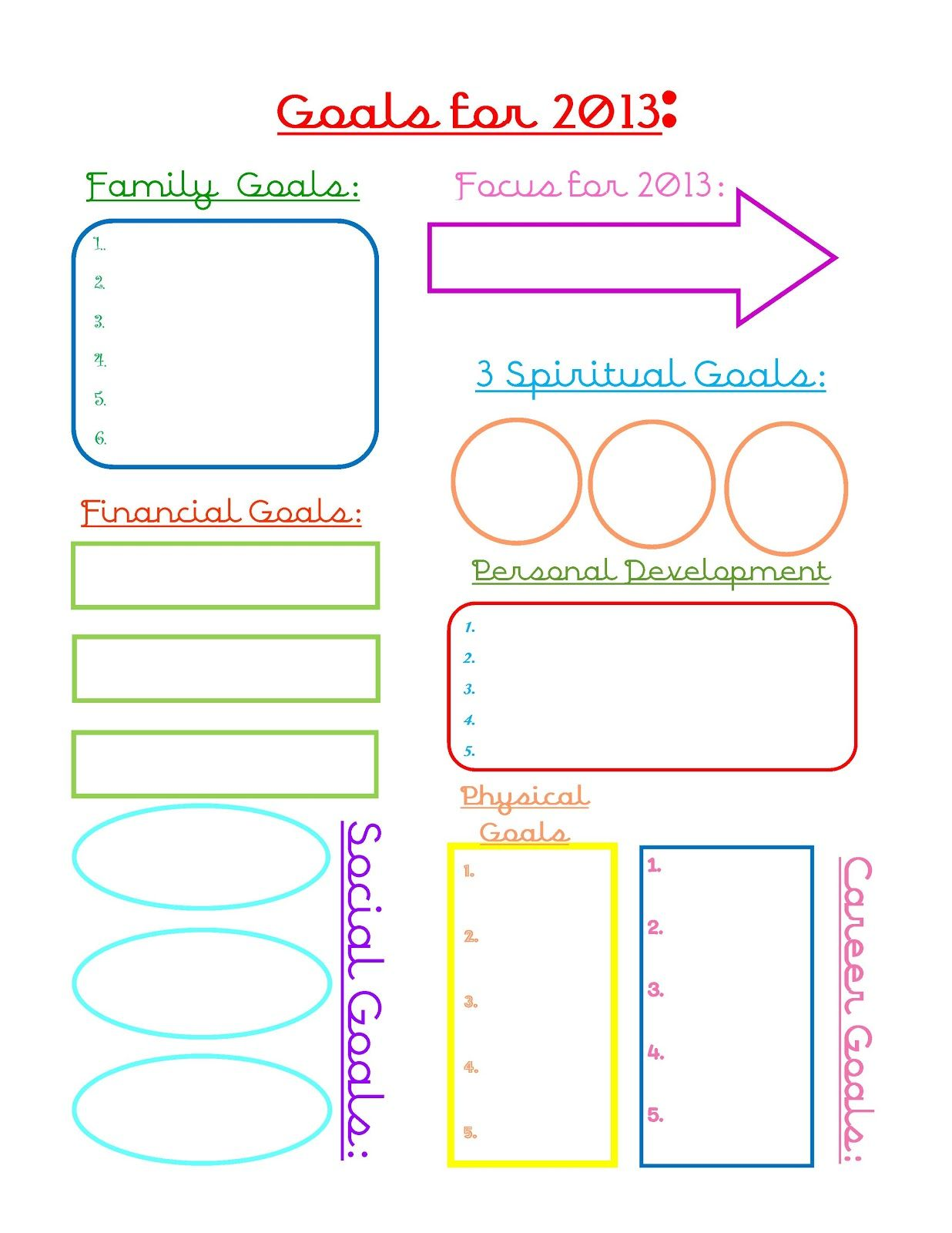 2013 Goal Worsheet | Share Your Craft | Goals sheet, Goals printable ...