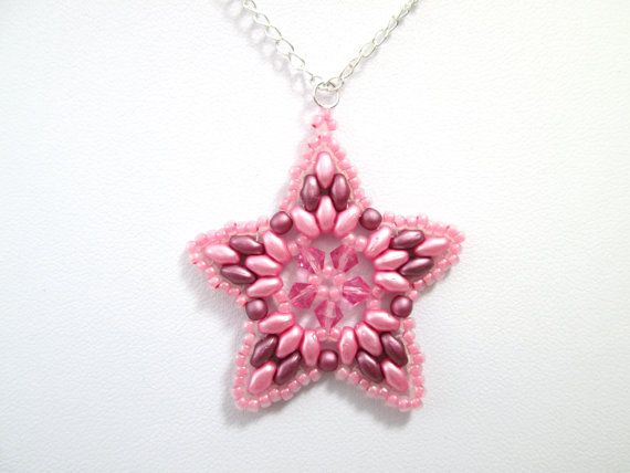 Pink and maroon swarovski elements super duo star pendant, pink necklace, summer jewelry, pastel jewellery,