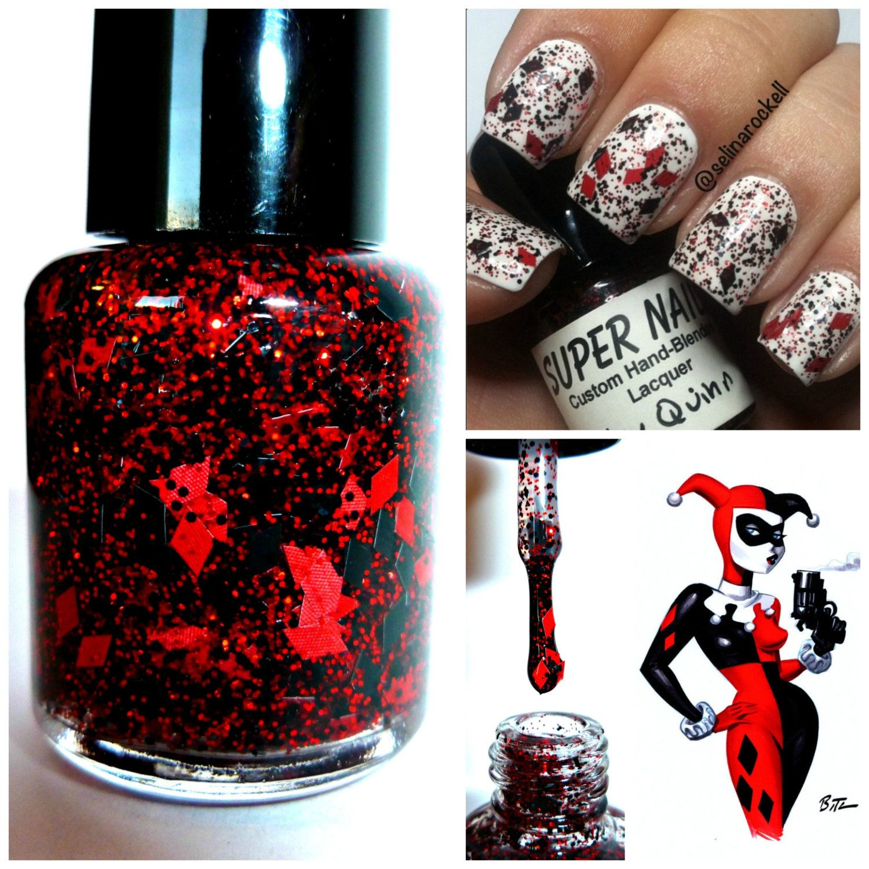 Harley Quinn Nail Polish 5free Hand Blended Dense By Supernails, $399