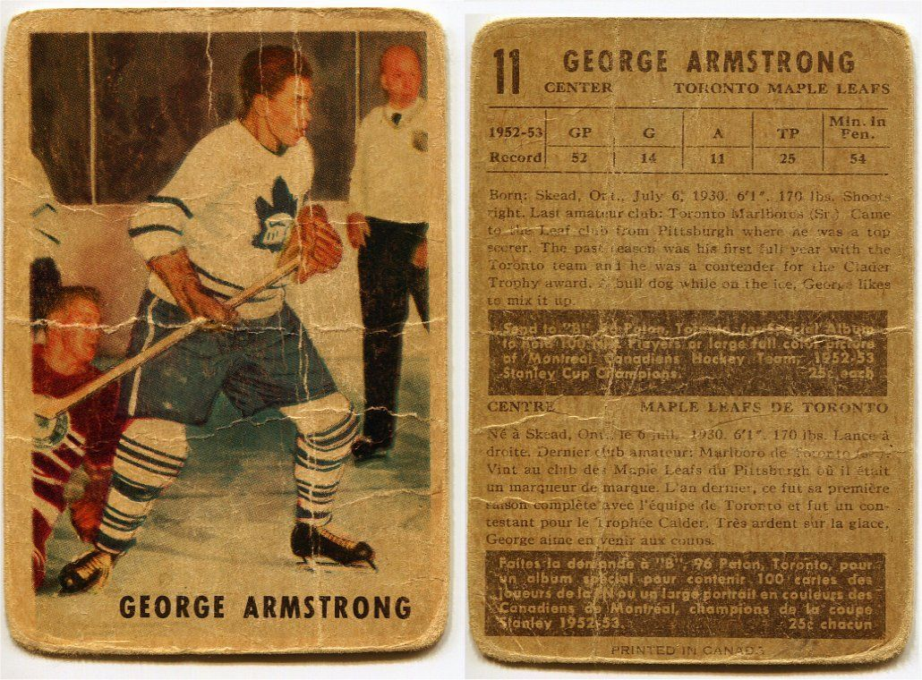 1953/54 Parkhurst George Armstrong Card #11 Toronto Maple Leafs ...