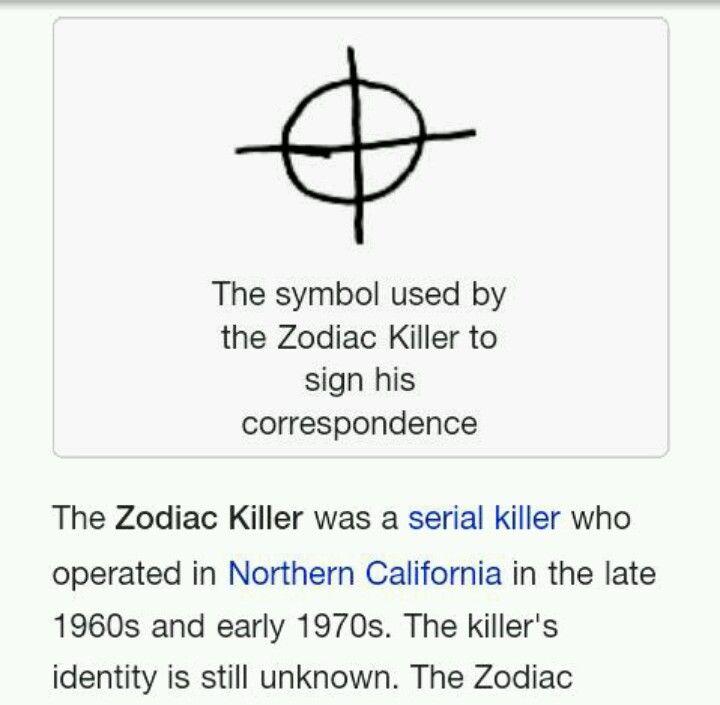 The Zodiac Killers Symbol Zodiac Serial Killer Pinterest