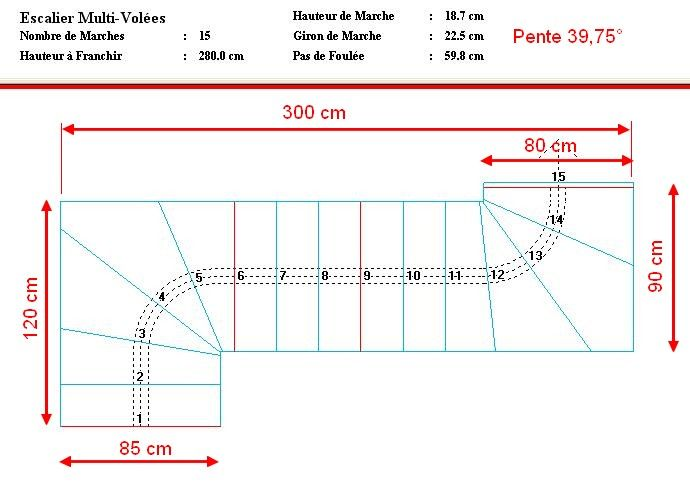 Superb Calcul D Un Escalier Quart Tournant Dimension Escalier